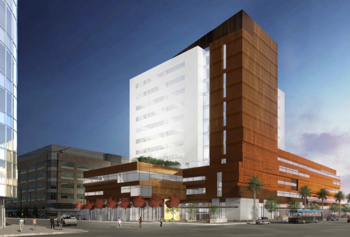 Exterior rendering of the UCSF Center for Vision Neuroscience on the Mission Bay campus