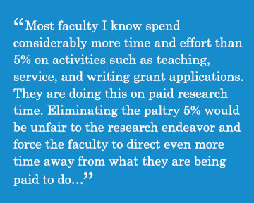 Caption - Most faculty I know spend  considerably more time and effort than 5% on activities such as teaching, service, and writing grant applications. They are doing this on paid research time. Eliminating the paltry 5% would be unfair to the research endeavor and force the faculty to direct even more time away from what they are being paid to do