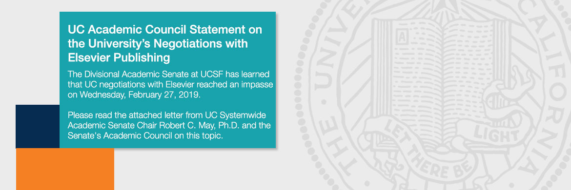 UC Academic Council Statement on the University's Negotiations with Elsevier Publishing