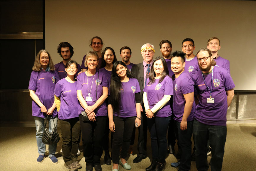 Stroud's laboratory members wore matching shirts to show support of his presentation.